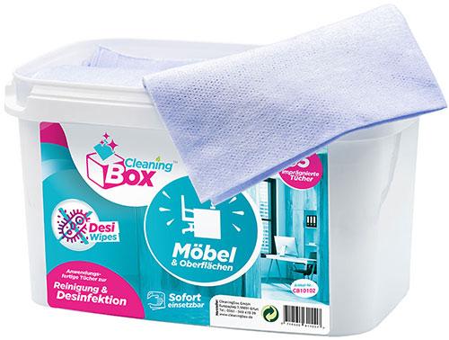 CleaningBox DesiWipes Desinfektions- & Reinigungstücher Möbel & Oberflächen 35er Spenderbox Blau