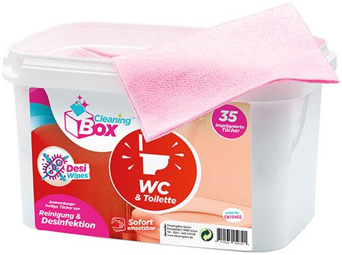 CleaningBox DesiWipes Desinfektions- & Reinigungstücher WC & Toilette 35er Spenderbox Rot
